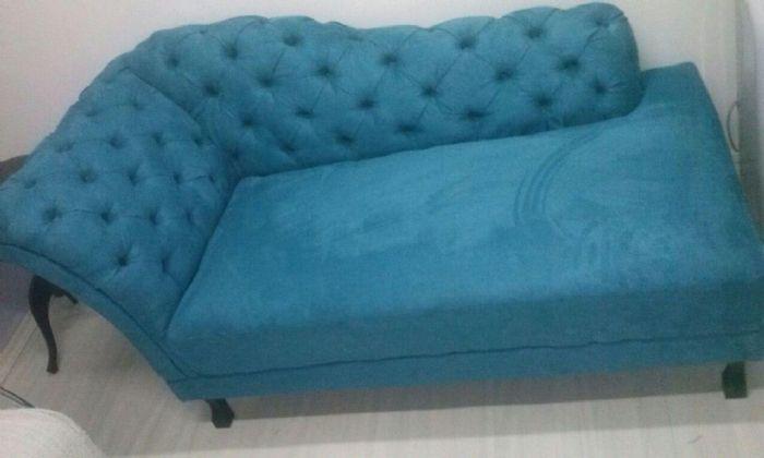 divã em sued azul medida 170x80 preço 900,00 3 vezes